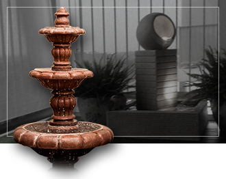 water feature sculpture with black and white water feature background