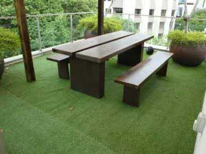 Artificial Grass With Wooden Furniture