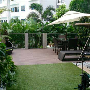 artificial green grass in the veranda