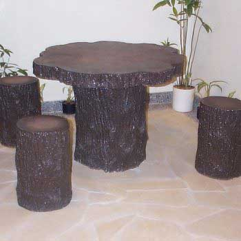 custom-design tree trunk table set