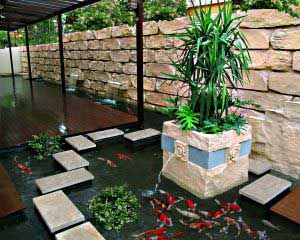 garden with custom-made koi pond
