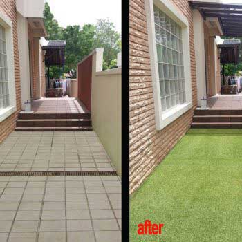 house flooring with and without artificial grass comparison