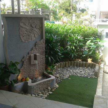 stylish landscape with creative wall carvings