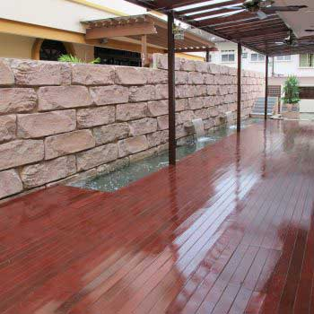 Maroon Colored Timber Deck Flooring