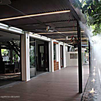meditation platform area with negative ion mist