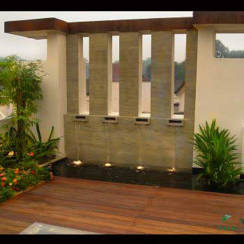 outdoor custom water feature at the veranda