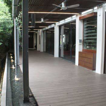 Side view of Timber Decking outside store