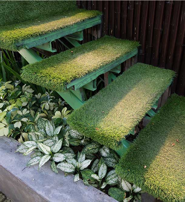 stairs covered with artificial grass
