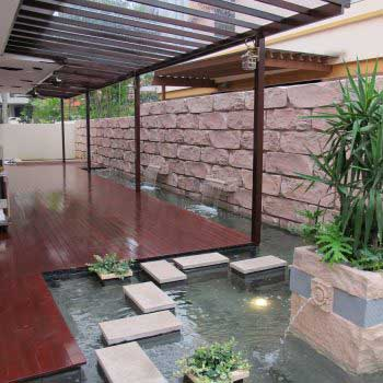 Timber Decking Roof With Water Feature