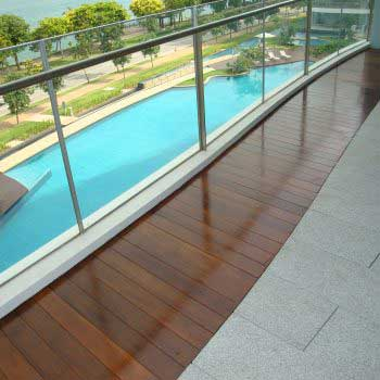 Timber flooring with Pool View