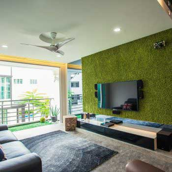 vertical green grass wall design
