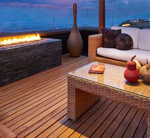Timber decking and wood designed furnitures