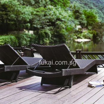 Composite timber decking with lounger