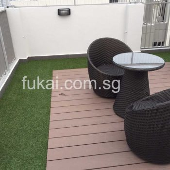 artificial grass with composite timber decking