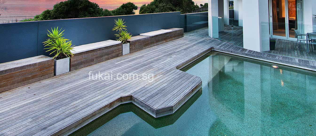 composite decking with swimming pools