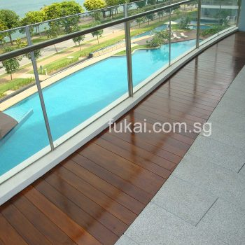 composite timber decking with flooring tiles